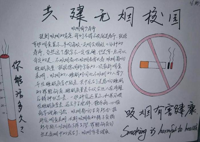 希望在学校大方针的指导下,全校师生一起为禁烟行动共同努力! 手抄报